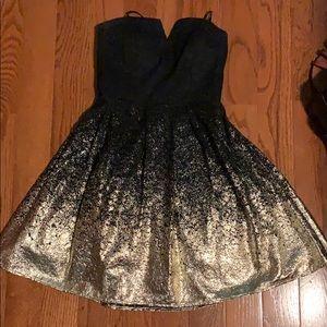 Black & gold strapless dress